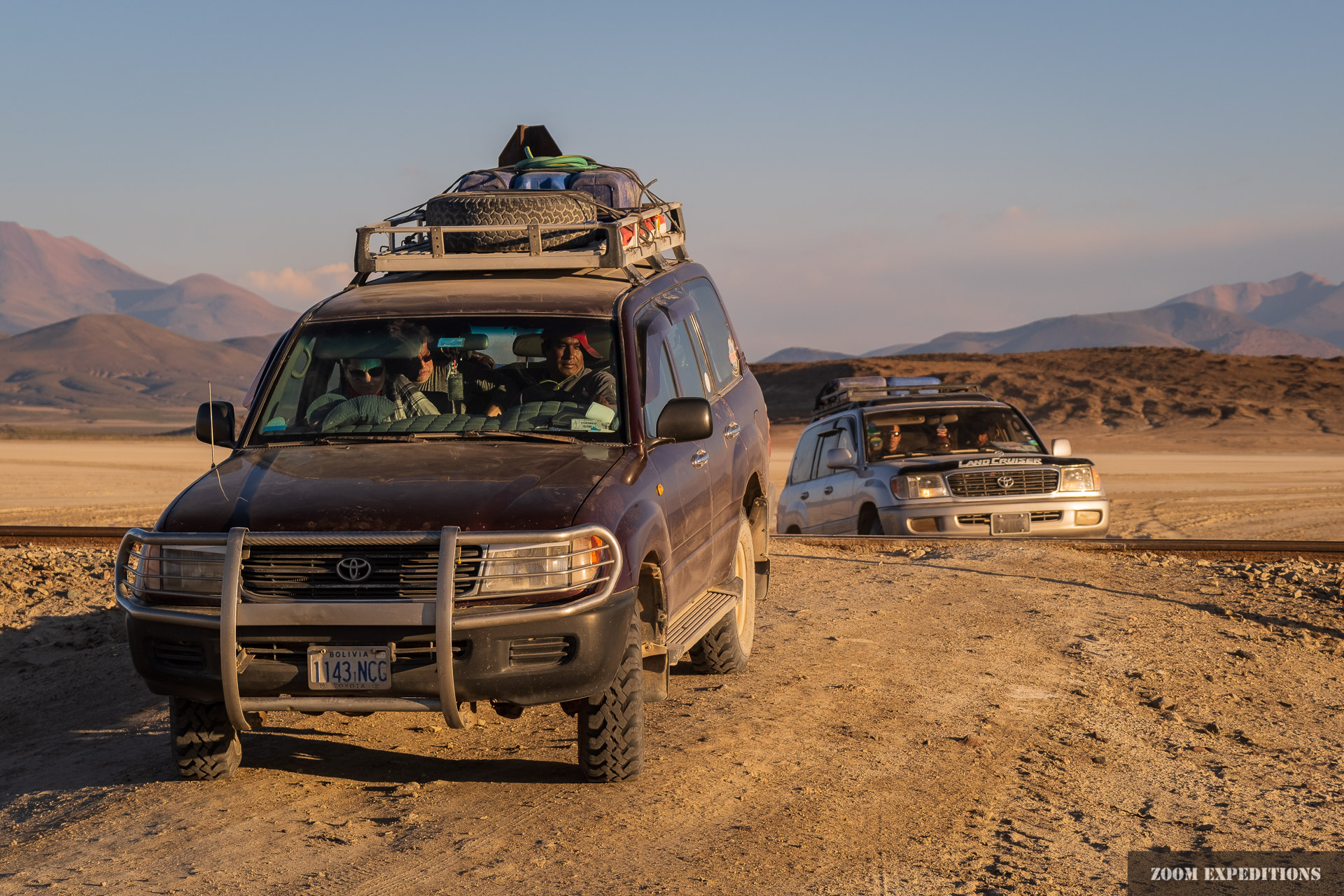 photography tour with Land Cruisers in Bolivia, sunset